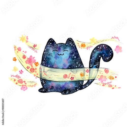 akwarela-kosmiczny-kot-kawaii-zwierzece-kwiatowy-wiatr-zapach-zapach-aromat-wszechswiat-przestrzen-galaktyka