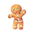 Watercolor vintage gingerbread man. Hand drawn Christmas illustration on white background