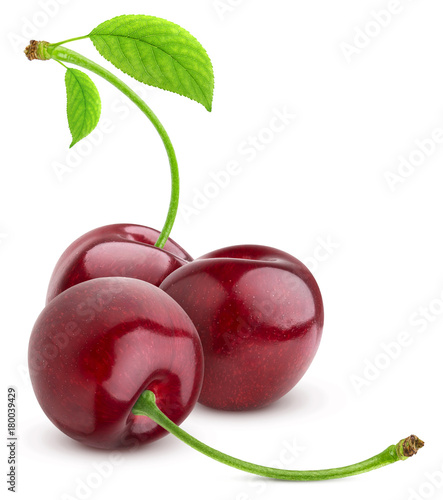 Fotobehang Kersen Cherry isolated on white background. Three Cherries group