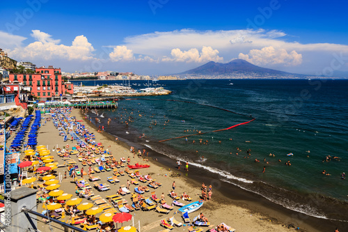 Papiers peints Naples Naples, Italy, view of the Mount Vesuvius and the bay from via Posillipo