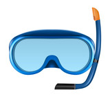 Blue diving or snorkel mask with tube. - 180041661