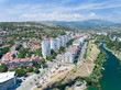 aerial view of the residential part of the Podgorica city on sunny summer day