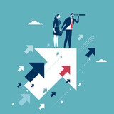 Searching for opportunities. Businesscouple standing on flying arrows. Concept business illustration - 180047036