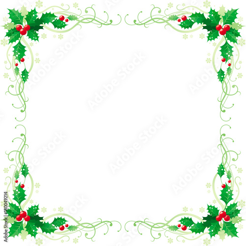 merry christmas and happy new year square corner banner frame border with holly berry leafs