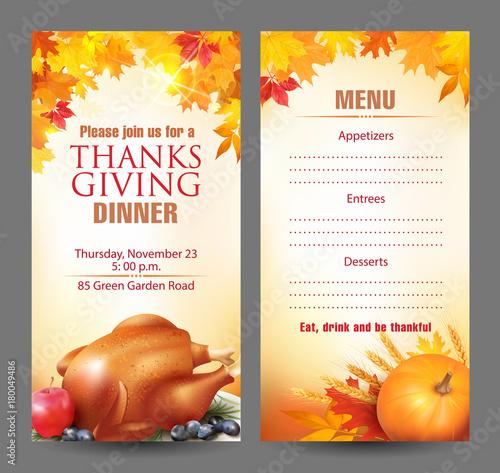 design template for thanksgiving dinner invitation vector