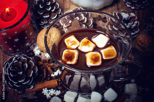 Tuinposter Chocolade Christmas hot chocolate with marshmallow.
