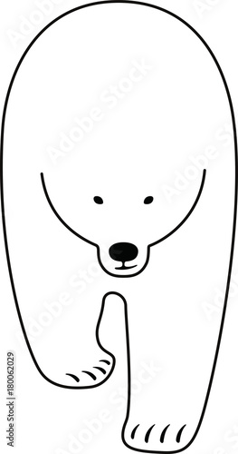 Polar bear walking flat line icon design, vector illustration  - 180062029