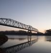 Bridge over Missouri River at Decatur, Nebraska at Sunrise in Winter