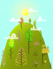 Colorful scenery season landscape background. Vector illustration. © Popmarleo
