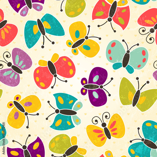 Foto op Canvas Vlinders in Grunge Seamless pattern with cute butterflies. EPS 10 vector illustration.