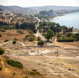 A view to remains of ancient Amathus city and Akrotiri bay from Acropolis hill in Limassol - 180083261