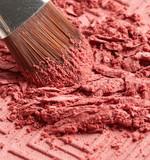 Blush and makeup brush close up
