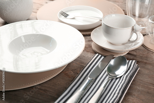 Table setting for dinner in vegetarian cafe - 180089653