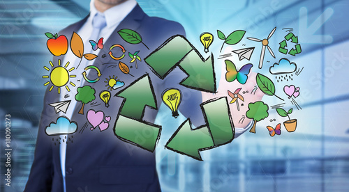 Sticker Businessman touching ecology interface with arrow recycling logo