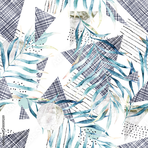 Abstract seamless pattern. Hand drawn watercolor illustration. Grunge background with leaves