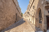Old castle architecture building street with big wall in Rhodes Greek town