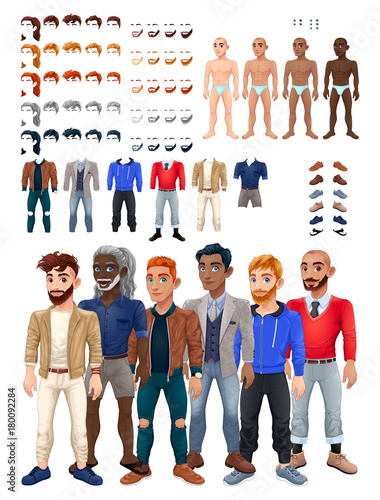Deurstickers Kinderkamer Dresses and hairstyles game with male avatar