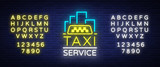 Fototapety Vector Neon Taxi logo isolated on a brick background. Silhouette badge glowing taxi. Design advertising night sign of the taxi brand. Editing text neon sign. Neon alphabet