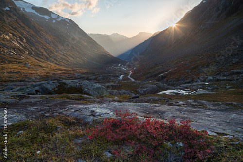 Foto op Canvas Grijze traf. Scenic fall view from Stryn, Norway