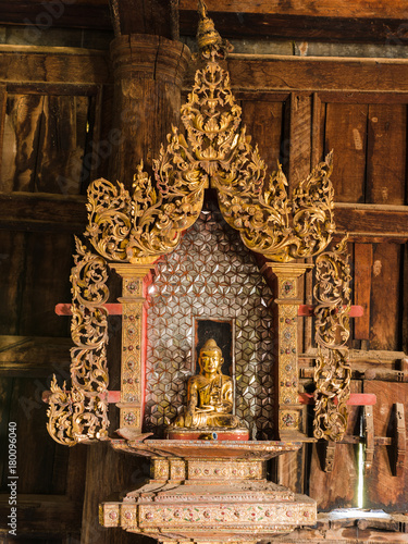Foto op Canvas Boeddha The Myanmar style Buddha statue at Htee Hlaing Monestery, Wundwin town, Mandalay, Myanmar