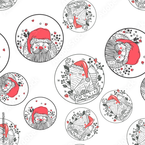 Materiał do szycia Cute hand drawn seamless pattern with Santa Claus and foxes. Christmas design. It can be used as wallpaper, desktop, printing, wrapping, fabric or background for your blog, covers and your design.
