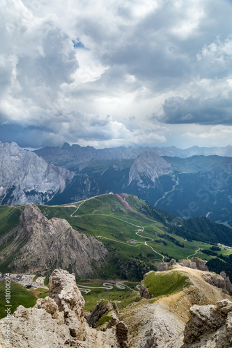 Papiers peints Vieux rose beautiful mauntain landscape in Italian Dolomites Alps. Passo Pordoi. South Tyrol. Italy