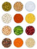 Kräuter und Gewürze Gemüse Sammlung von oben isoliert Hochformat freigestellt Freisteller - 180104881