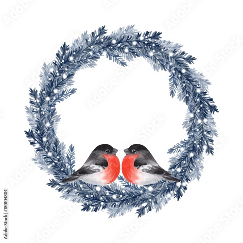 Watercolor illustration. Christmas fir tree wreath with birds - 180104804