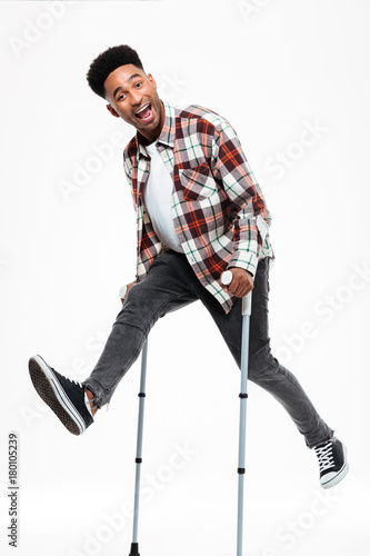 Full length portrait of a happy young afro american man