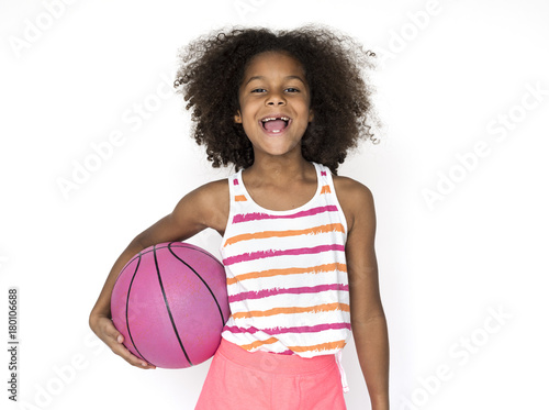 Fotobehang Basketbal Little Girl Smiling Happiness Basketball Sport Portrait