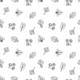 Vector hand drawn seamless pattern, decorative stylized childish trees. Doodle style, tribal graphic illustration. Ornamental cute hand drawing Series of doodle, cartoon, sketch seamless patterns