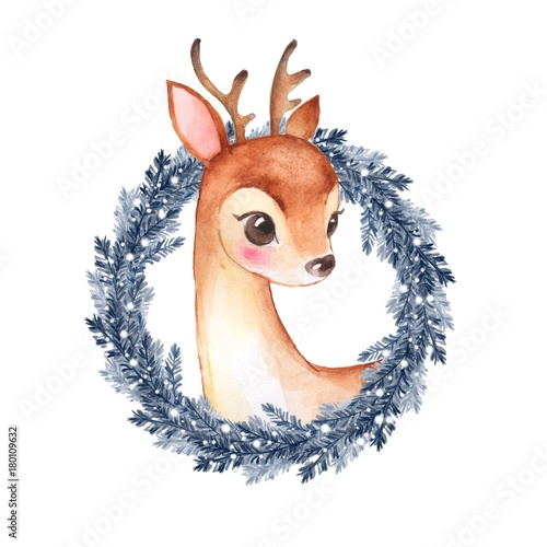 Baby Deer. Cute fawn and Christmas wreath. Watercolor illustration 2 - 180109632