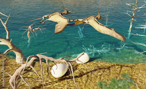 Foto op Plexiglas Draken Egg and pterodactyl 3d rendering