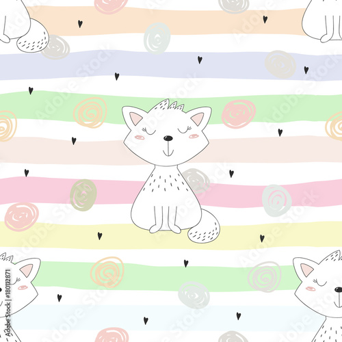 obraz lub plakat Cute cats colorful seamless pattern background