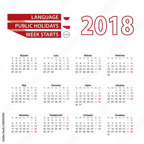 Fototapeta Calendar 2018 in Polish language with public holidays the country of Poland in year 2018.