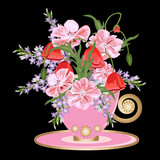 Beautiful bouquet of flowers in vintage pink tea cup. Decor elements for greeting cards, wedding invitations, birthday and other celebrations. Isolated on black background.