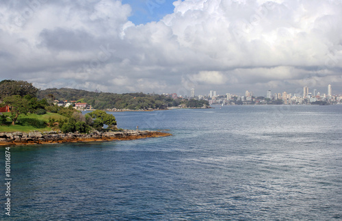 Fotobehang Sydney Sydney city center from Watson Bay