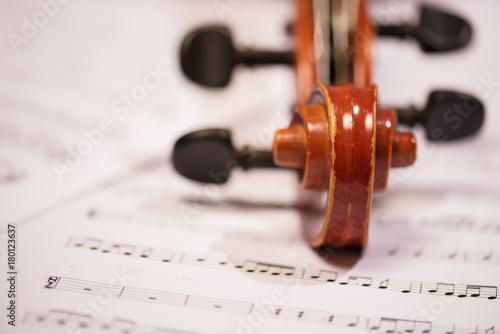Fotobehang Muziek Violin and notes