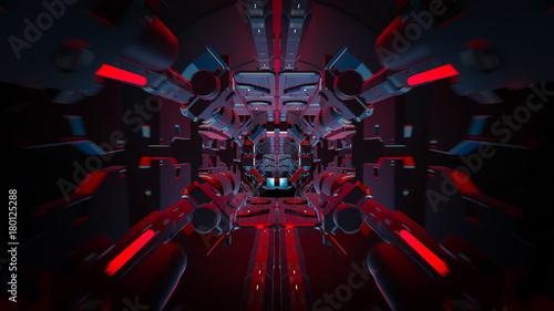 3d odpłacają się futurystyczny tunel z światłem. Abstrakcjonistyczna tła, biznesu, fantastyka naukowa, technologii, transportu lub nauki pojęcie ,.
