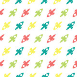 Space Rocket Explorer Seamless Silhouette Colored Pattern Background