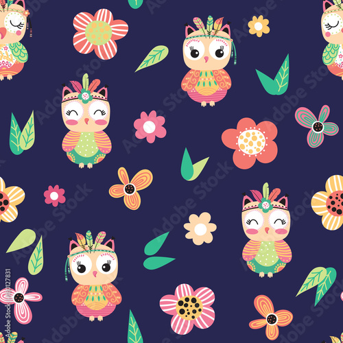 Aluminium Uilen cartoon Seamless pattern with colorful owls