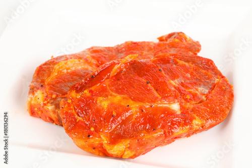 Foto op Plexiglas Steakhouse mariniertes Nackensteak