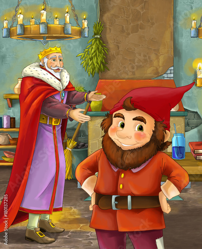 cartoon scene with happy king standing the kitchen and talking with a dwarf illustration for children - 180137285