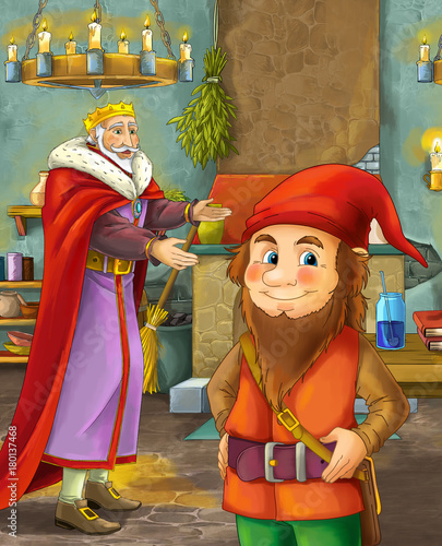 cartoon scene with happy king standing the kitchen and talking with a dwarf illustration for children - 180137468