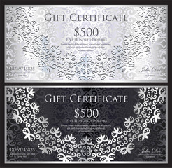 Luxury silver and black gift certificate with rounded lace decoration and vintage background