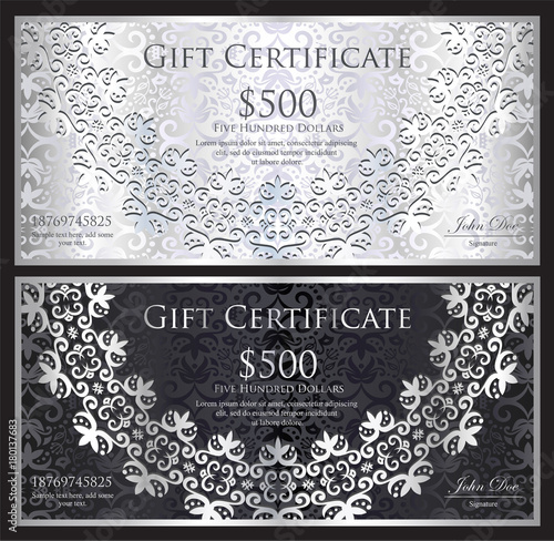 Zdjęcia na płótnie, fototapety, obrazy : Luxury silver and black gift certificate with rounded lace decoration and vintage background