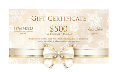 Luxury cream Christmas gift certificate with white snowflakes and pink ribbon