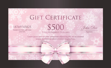 Luxury pink Christmas gift certificate with white snowflakes and pink ribbon