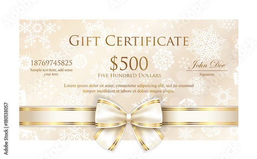 Luxury cream Christmas gift certificate with white snowflakes and pink ribbon - 180138057