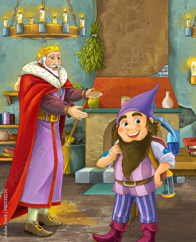 cartoon scene with happy king standing the kitchen and talking with a dwarf illustration for children - 180138230